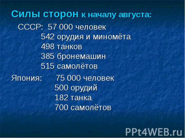 Силы сторон к началу августа: СССР: 57 000 человек 542 орудия и миномёта 498 танков 385 бронемашин 515 самолётов Япония: 75 000 человек 500 орудий 182 танка 700 самолётов