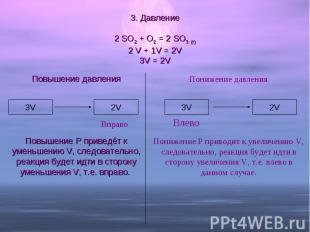3. Давление 2 SO2 + O2 = 2 SO3 (г)2 V + 1V = 2V3V = 2V Повышение давленияПовышен
