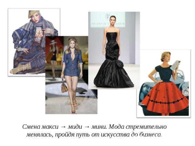 Смена макси → миди → мини. Мода стремительно менялась, пройдя путь от искусства до бизнеса.