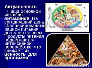 Актуальность: Пища основной источник витаминов. На сегодняшний день, сбалансиров