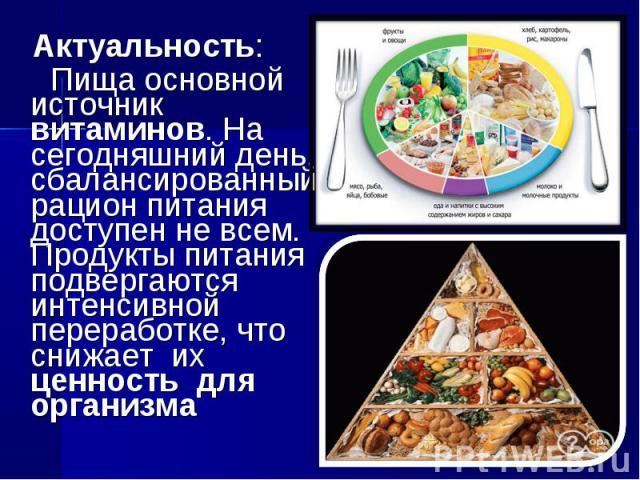 Актуальность: Пища основной источник витаминов. На сегодняшний день, сбалансированный рацион питания доступен не всем. Продукты питания подвергаются интенсивной переработке, что снижает их ценность для организма