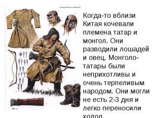 Когда-то вблизи Китая кочевали племена татар и монгол. Они разводили лошадей и о