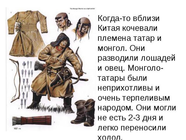 Когда-то вблизи Китая кочевали племена татар и монгол. Они разводили лошадей и овец. Монголо-татары были неприхотливы и очень терпеливым народом. Они могли не есть 2-3 дня и легко переносили холод.