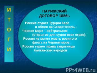 ПАРИЖСКИЙ ДОГОВОР 1856г. Россия отдает Турции Карс в обмен на Севастополь ; Черн