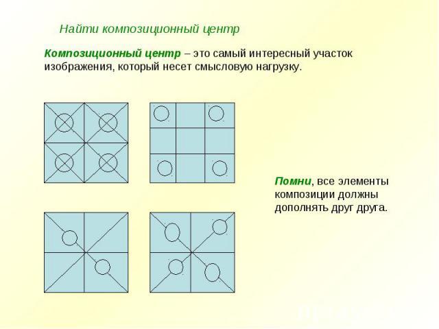Найти композиционный центр Композиционный центр – это самый интересный участок изображения, который несет смысловую нагрузку.Помни, все элементы композиции должныдополнять друг друга.