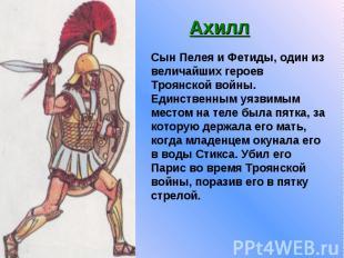 Ахилл Сын Пелея и Фетиды, один из величайших героев Троянской войны. Единственны