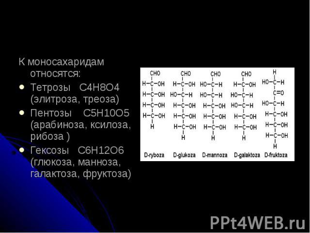 К моносахаридам относятся:Тетрозы С4Н8О4 (элитроза, треоза)Пентозы С5Н10О5 (арабиноза, ксилоза, рибоза )Гексозы С6Н12О6 (глюкоза, манноза, галактоза, фруктоза)