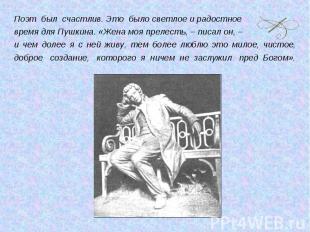 Поэт был счастлив. Это было светлое и радостное время для Пушкина. «Жена моя пре