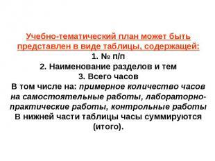 Учебно-тематический план может быть представлен в виде таблицы, содержащей:1. №