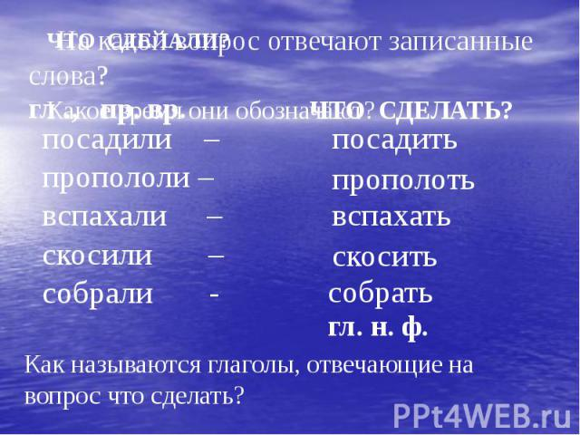 На какой вопрос отвечают записанные слова?посадили –пропололи –вспахали –скосили –собрали - Как называются глаголы, отвечающие на вопрос что сделать?