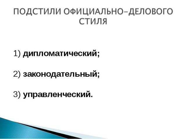 ПОДСТИЛИ ОФИЦИАЛЬНО-ДЕЛОВОГО СТИЛЯ 1) дипломатический; 2) законодательный;3) управленческий.