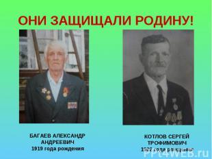 ОНИ ЗАЩИЩАЛИ РОДИНУ! БАГАЕВ АЛЕКСАНДР АНДРЕЕВИЧ1919 года рожденияКОТЛОВ СЕРГЕЙ Т