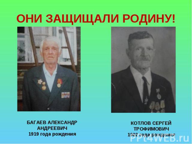 ОНИ ЗАЩИЩАЛИ РОДИНУ! БАГАЕВ АЛЕКСАНДР АНДРЕЕВИЧ1919 года рожденияКОТЛОВ СЕРГЕЙ ТРОФИМОВИЧ1902 года рождения