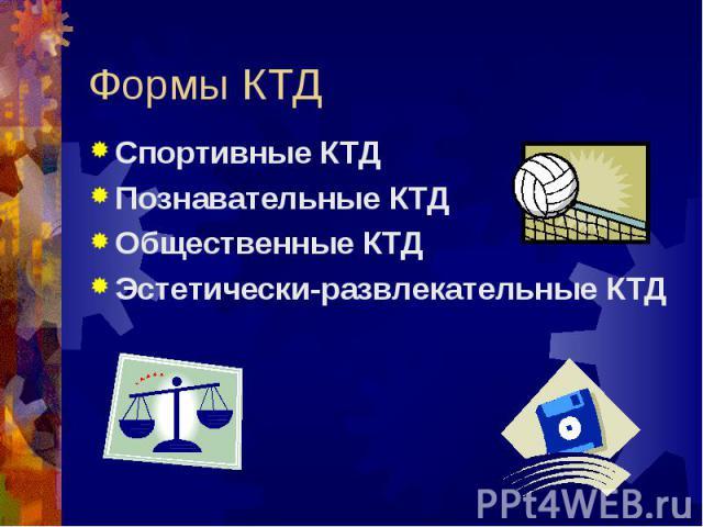 Формы КТД Спортивные КТДПознавательные КТДОбщественные КТДЭстетически-развлекательные КТД