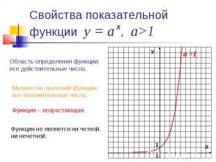 Свойства показательной функции у = а , а>1 Область определения функции: все дейс