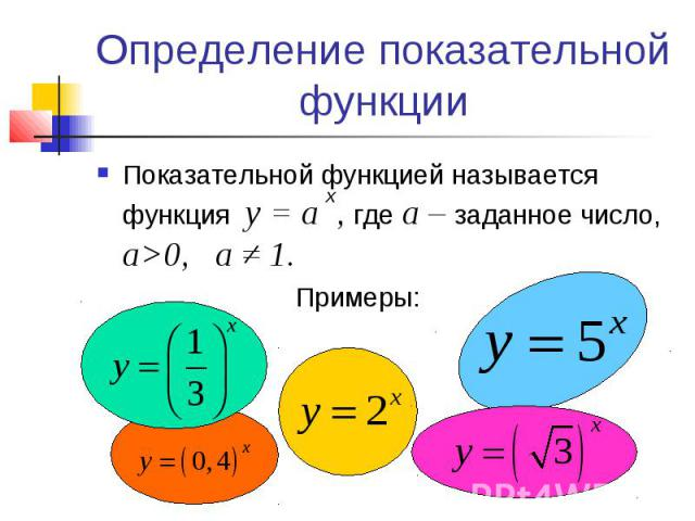 Определение показательной функции Показательной функцией называется функция у = а , где а – заданное число, а>0, a ≠ 1.