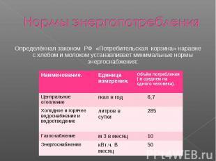 Нормы энергопотребления Определённая законом РФ «Потребительская корзина» наравн