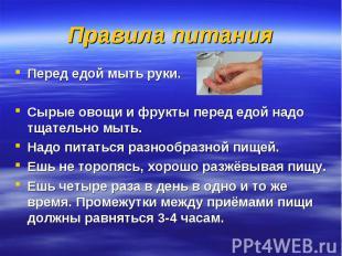 Правила питания Перед едой мыть руки.Сырые овощи и фрукты перед едой надо тщател