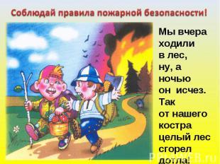 Соблюдай правила пожарной безопасности! Мы вчераходили в лес,ну, а ночьюон исчез