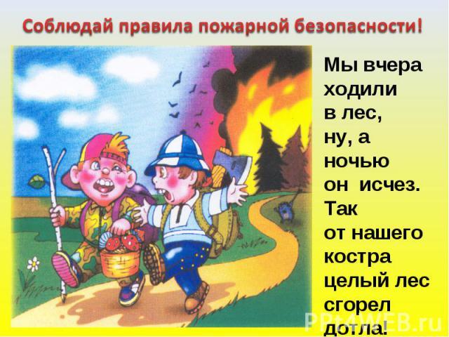 Соблюдай правила пожарной безопасности! Мы вчераходили в лес,ну, а ночьюон исчез.Так от нашегокострацелый лес сгорел дотла!