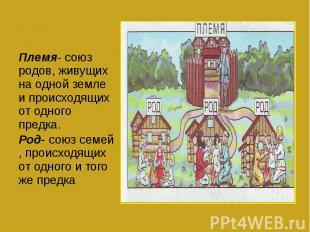 Племя- союз родов, живущих на одной земле и происходящих от одного предка.Род- с