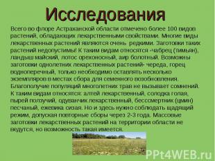 Исследования Всего во флоре Астраханской области отмечено более 100 видов растен