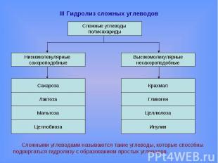 III Гидролиз сложных углеводов Сложными углеводами называются такие углеводы, ко