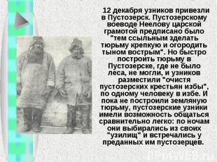 12 декабря узников привезли в Пустозерск. Пустозерскому воеводе Неелову ца
