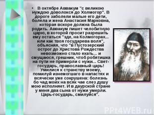 """В октябре Аввакум """"с великою нуждою доволокся до Холмогор"""". В дороге заболели ма"""