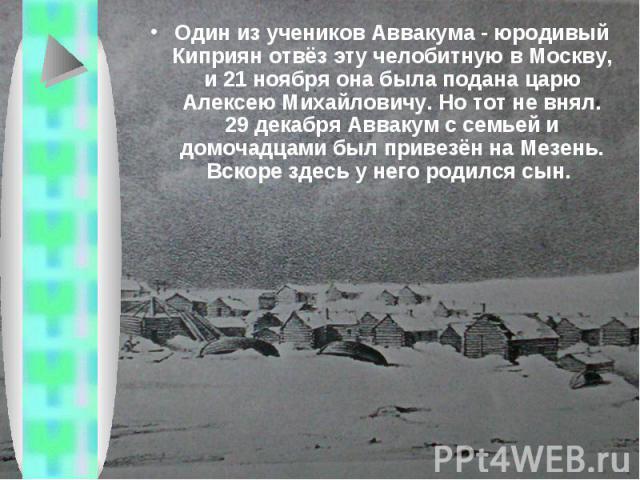 Один из учеников Аввакума - юродивый Киприян отвёз эту челобитную в Москву, и 21 ноября она была подана царю Алексею Михайловичу. Но тот не внял. 29 декабря Аввакум с семьей и домочадцами был привезён на Мезень. Вскоре здесь у него родился сын.