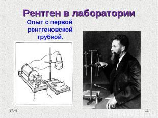 Рентген в лаборатории Опыт с первой рентгеновской трубкой.