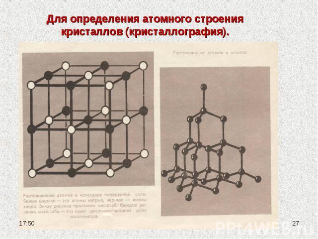 Для определения атомного строения кристаллов (кристаллография).
