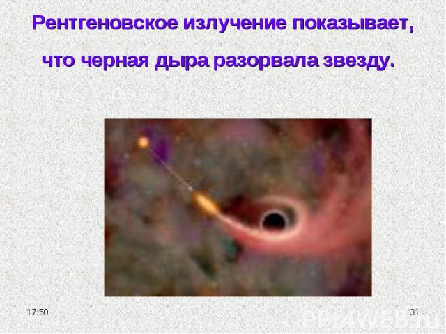Рентгеновское излучение показывает, что черная дыра разорвала звезду.