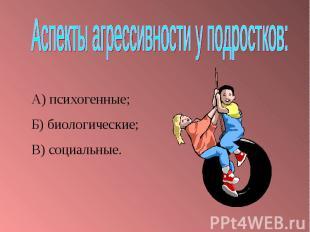 Аспекты агрессивности у подростков:А) психогенные;Б) биологические;В) социальные
