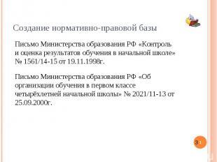 Создание нормативно-правовой базы Письмо Министерства образования РФ «Контроль и