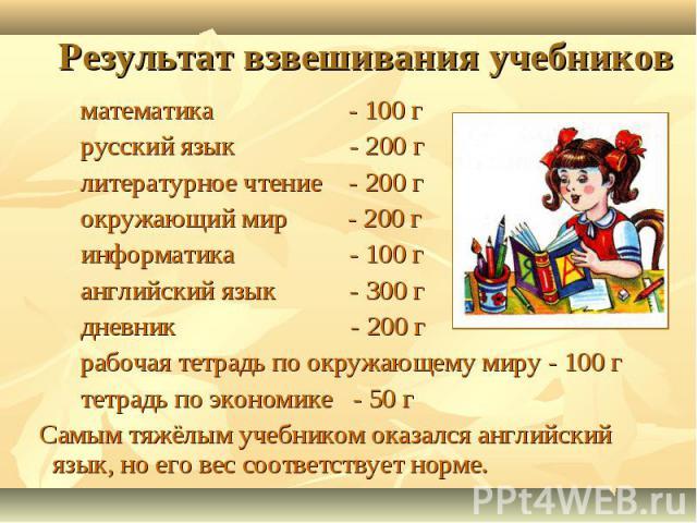 Результат взвешивания учебников математика - 100 г русский язык - 200 г литературное чтение - 200 г окружающий мир - 200 г информатика - 100 г английский язык - 300 г дневник - 200 г рабочая тетрадь по окружающему миру - 100 г тетрадь по экономике -…