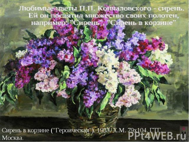 Любимые цветы П.П. Кончаловского - сирень. Ей он посвятил множество своих полотен, например: