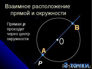 Взаимное расположение прямой и окружности Прямая p проходит через центр окружнос