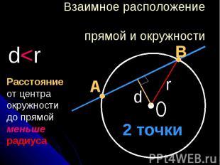 Взаимное расположение прямой и окружности Расстояние от центра окружности до пря