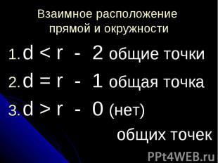 Взаимное расположение прямой и окружности d < r - 2 общие точкиd = r - 1 общая т