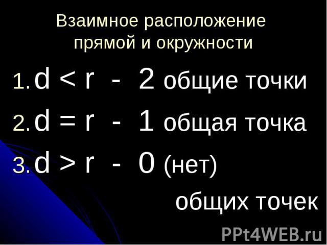 Взаимное расположение прямой и окружности d < r - 2 общие точкиd = r - 1 общая точкаd > r - 0 (нет) общих точек
