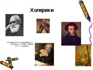 Холерики от Суворов А.В., Менделеев Д.И., Пушкин А.С., Петр I, Павлов И.П. — хол