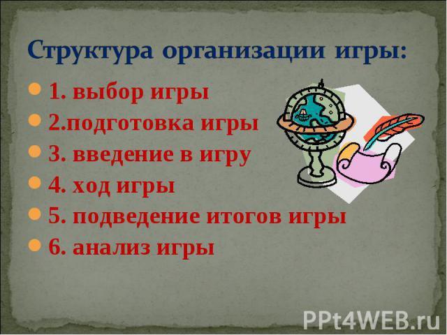 Структура организации игры: 1. выбор игры2.подготовка игры3. введение в игру4. ход игры5. подведение итогов игры6. анализ игры