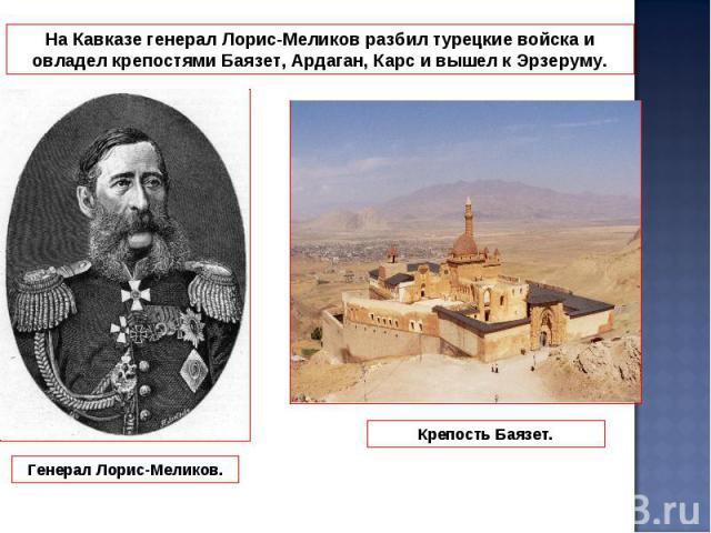 На Кавказе генерал Лорис-Меликов разбил турецкие войска и овладел крепостями Баязет, Ардаган, Карс и вышел к Эрзеруму.