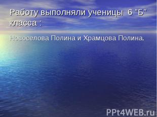 """Работу выполняли ученицы 6 """"Б"""" класса : Новоселова Полина и Храмцова Полина."""