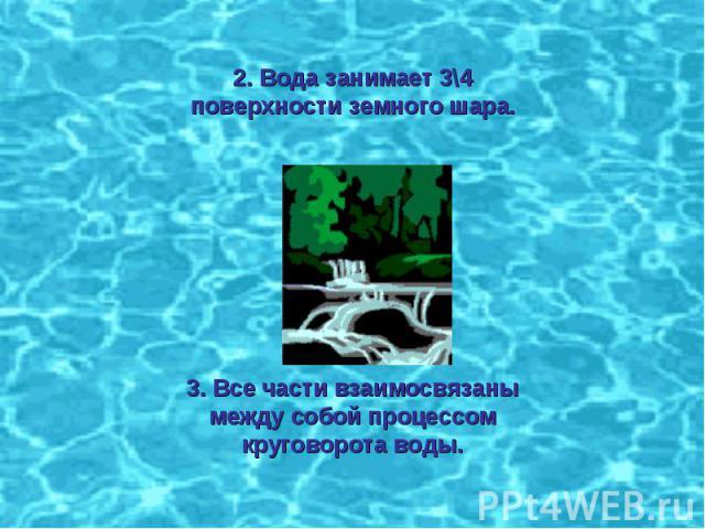 2. Вода занимает 3\4 поверхности земного шара.3. Все части взаимосвязаны между собой процессом круговорота воды.