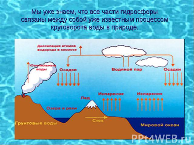 Мы уже знаем, что все части гидросферысвязаны между собой уже известным процессомкруговорота воды в природе.