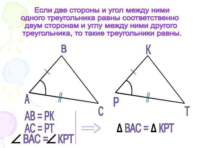 Если две стороны и угол между нимиодного треугольника равны соответственно двум сторонам и углу между ними другого треугольника, то такие треугольники равны.