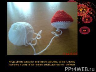 Когда шляпа вырастет до нужного размера, сменить пряжу на белую и вяжите постепе