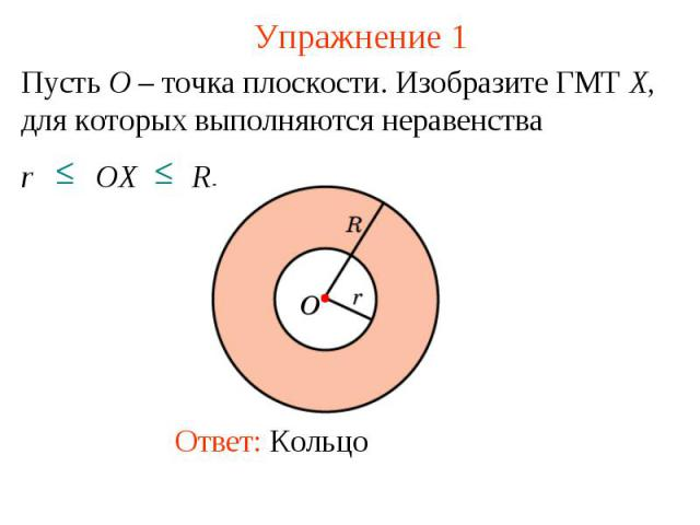Упражнение 1Пусть O – точка плоскости. Изобразите ГМТ X, для которых выполняются неравенства r OX R.
